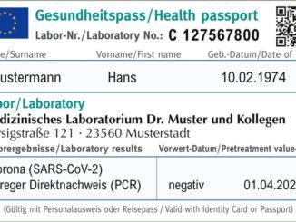 """Muster-Entwurf eines """"EU-Gesundheitspass Corona"""""""