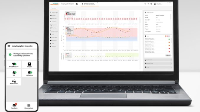 "Software ""teamplay myCare Companion"" auf Notebook und Smartphone"