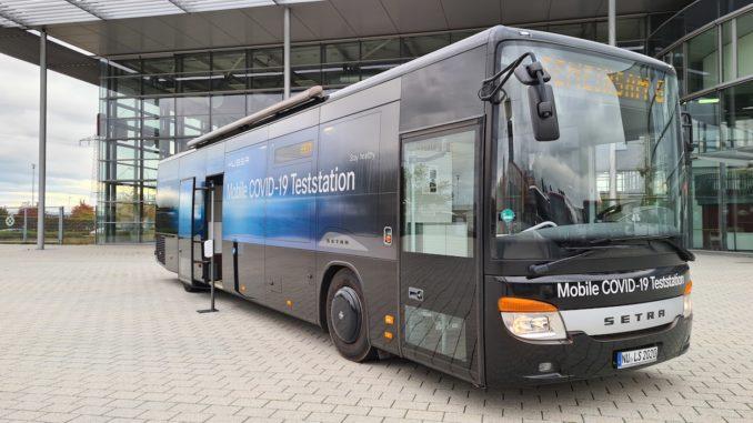 Setra-Bus als mobile COVID-19-Teststation