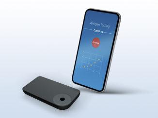 Smartphone mit Testgerät