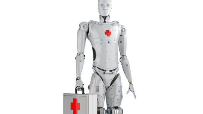 Roboter mit Medizinkoffer (Rendering)